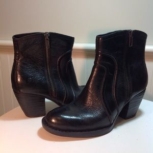 Born Black Leather Booties 6.5